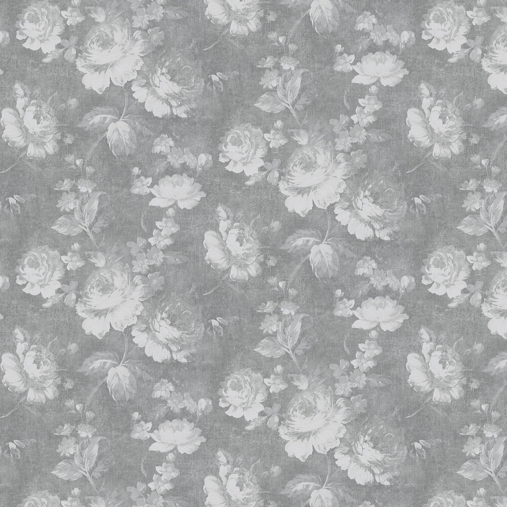 Dusky Floral Wallpaper - Grey - by Albany