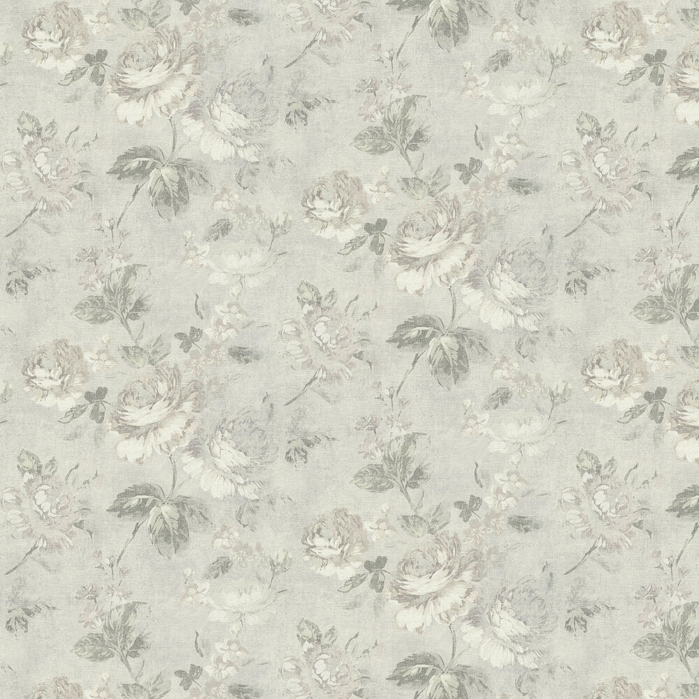 Dusky Floral Wallpaper - Stone - by Albany