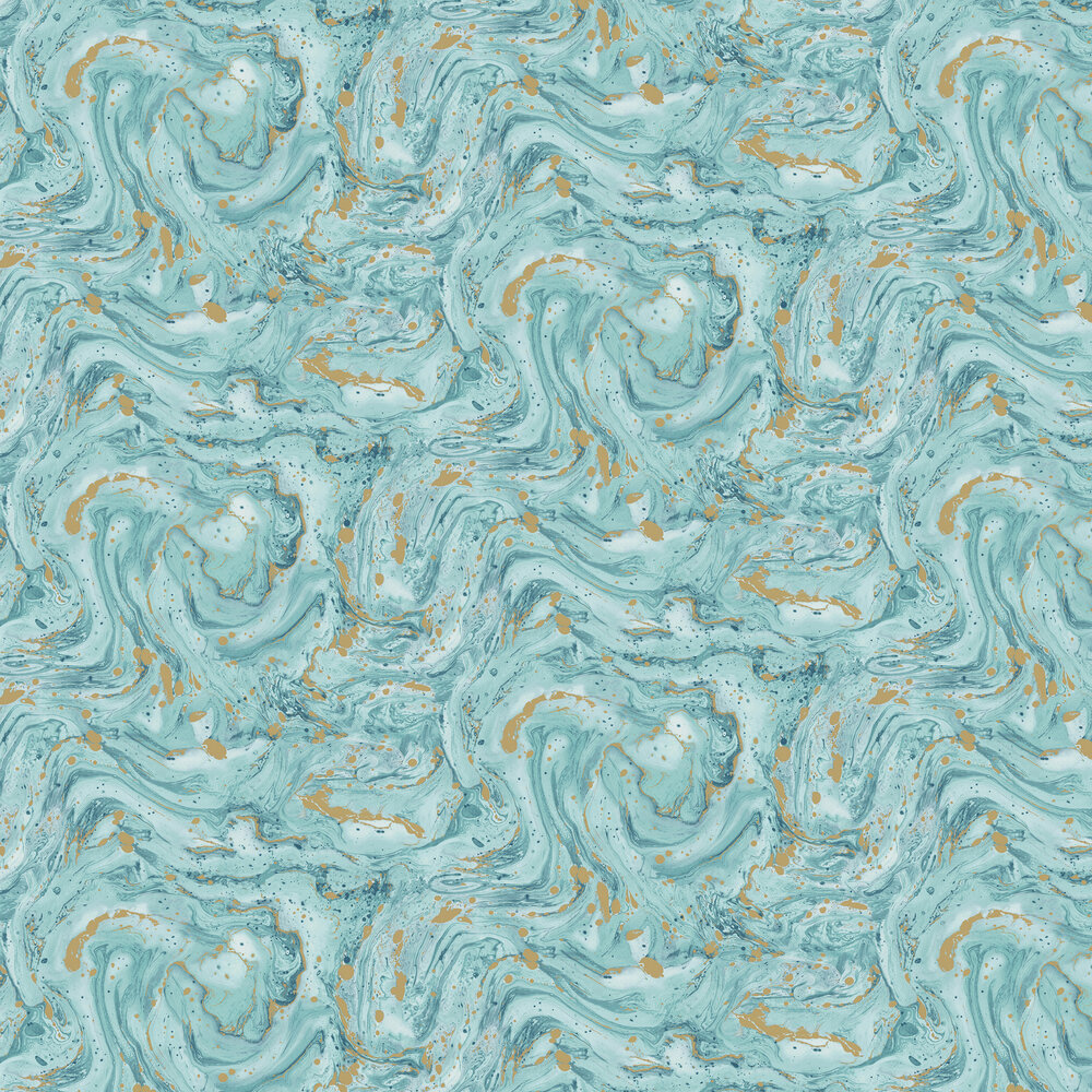 Azurite Wallpaper - Teal/ Gold - by Albany