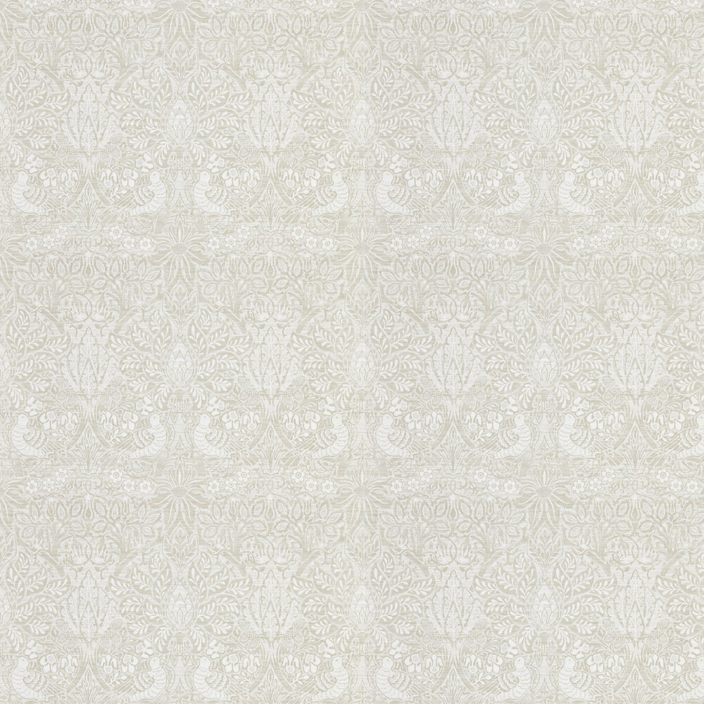 Pure Dove and Rose Wallpaper - White Clover - by Morris