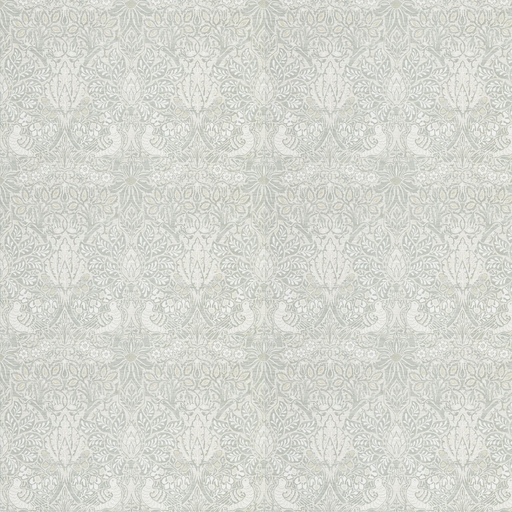 Pure Dove and Rose Wallpaper - Grey Blue - by Morris