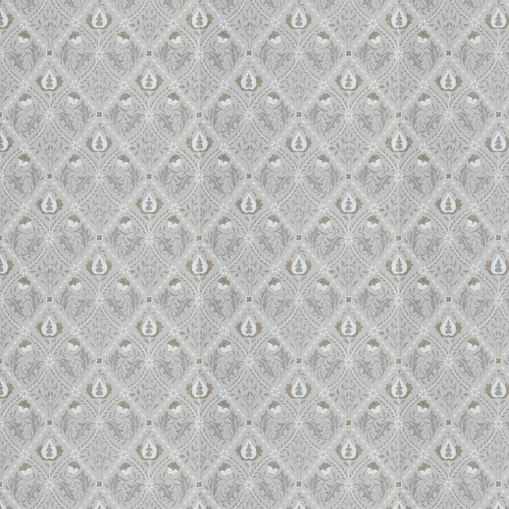 Pure Trellis Wallpaper - Lightish Grey - by Morris