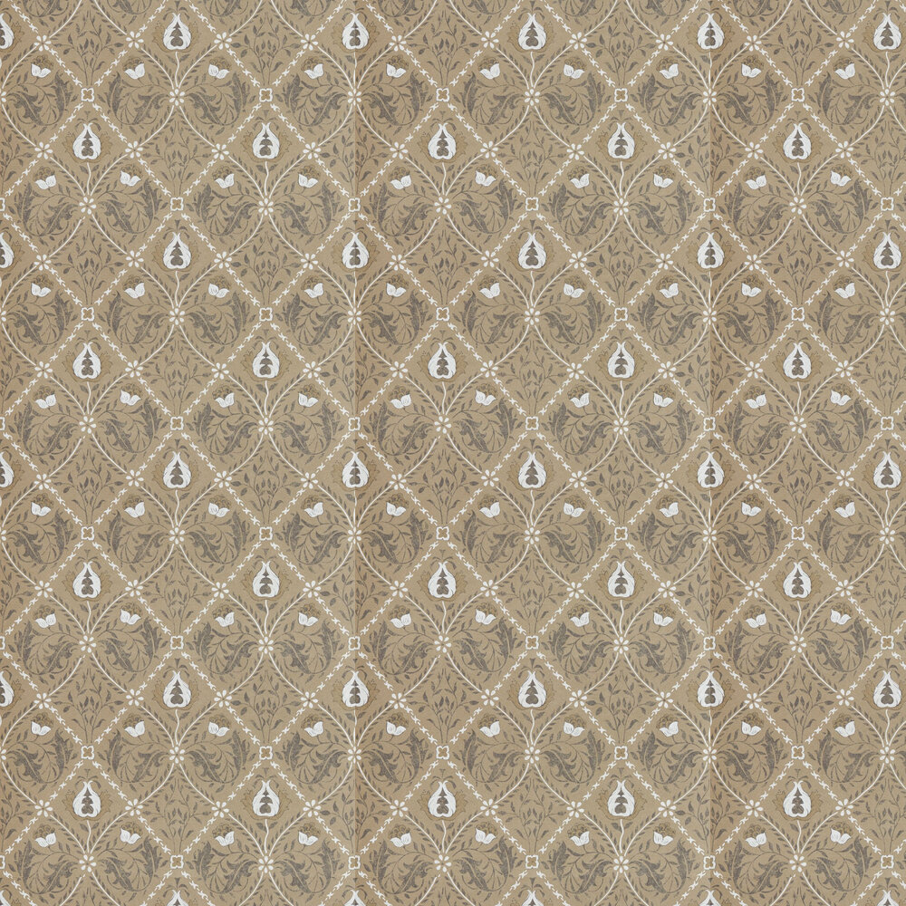 Pure Trellis Wallpaper - Gold - by Morris