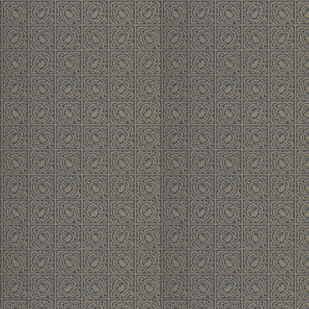 Pure Scroll Wallpaper - Black Ink - by Morris
