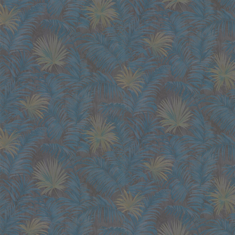 Ferns Wallpaper - Midnight Blue - by Roberto Cavalli