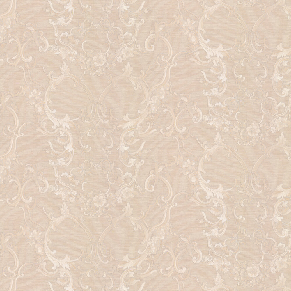 Floral Damask Wallpaper - Beige - by Roberto Cavalli
