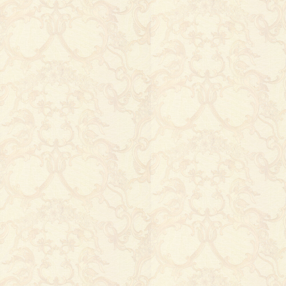 Floral Damask Wallpaper - Cream - by Roberto Cavalli