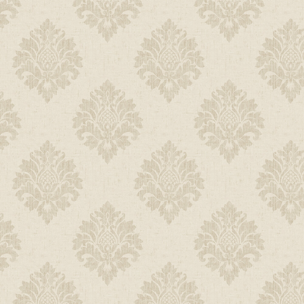 Textured Damask Wallpaper - Stone - by SK Filson