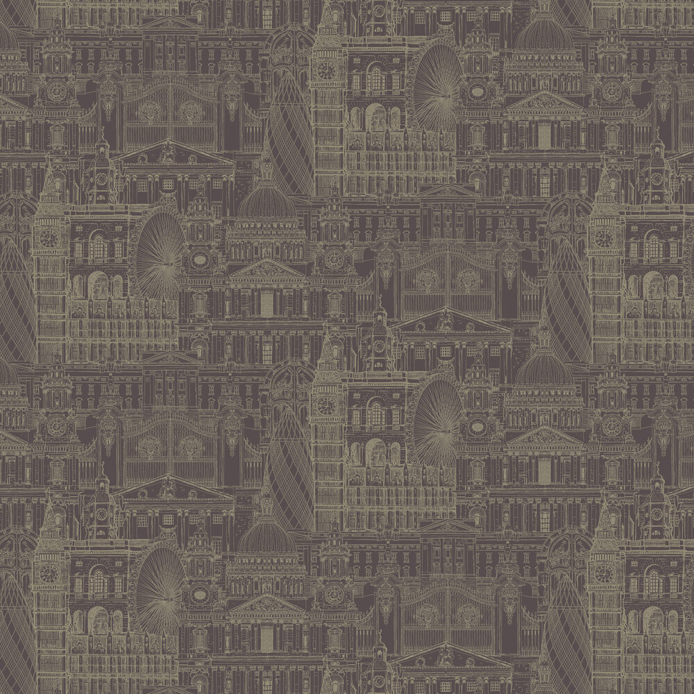 London City Wallpaper - Mulberry - by SK Filson