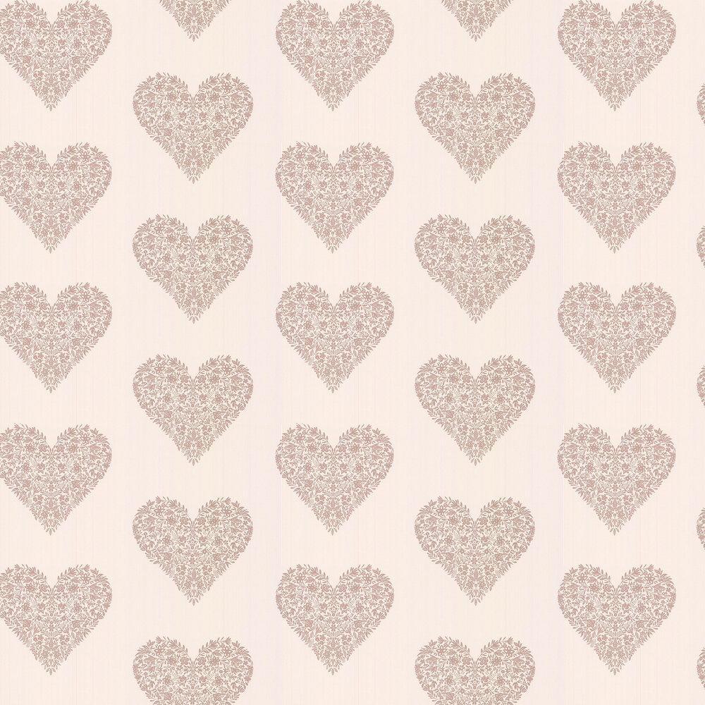 Floral Heart Wallpaper - Cream - by Albany