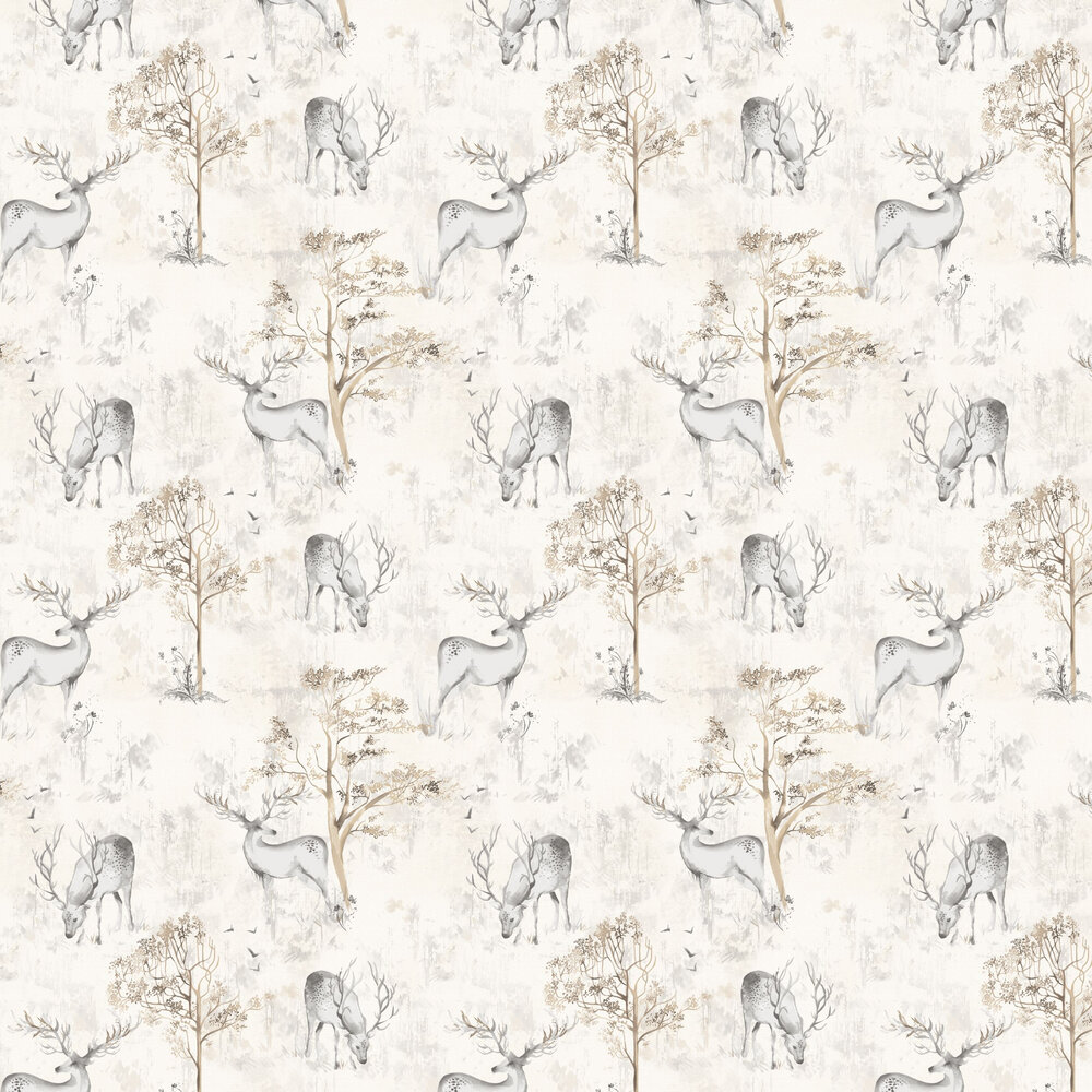 Highland Stag Wallpaper - Grey - by Albany