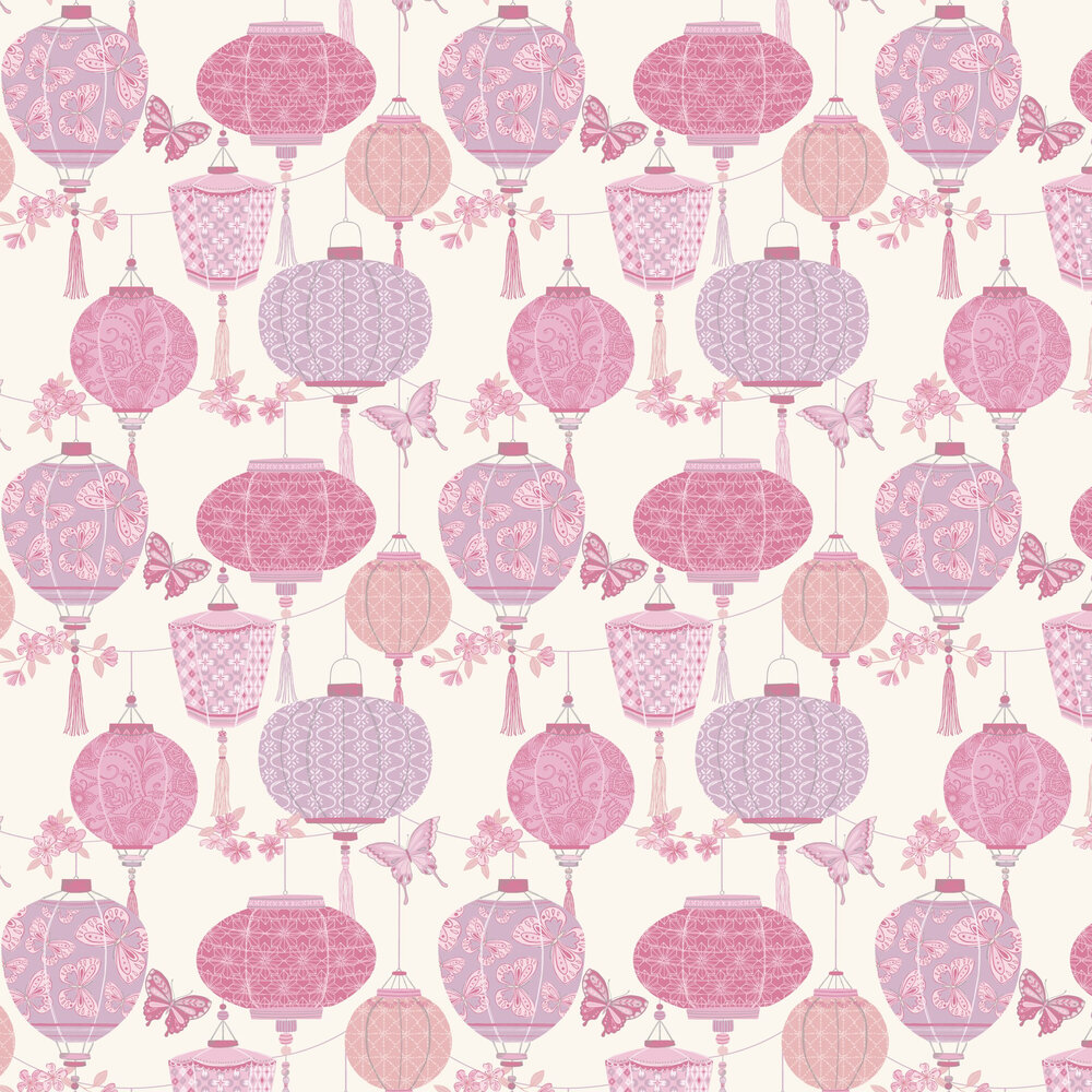 Lantern Wallpaper - Pink - by Albany