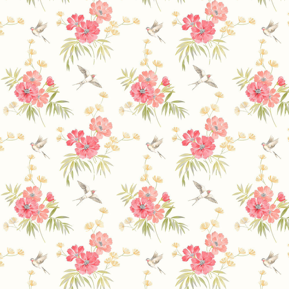 Riva Floral Wallpaper - Red - by Albany