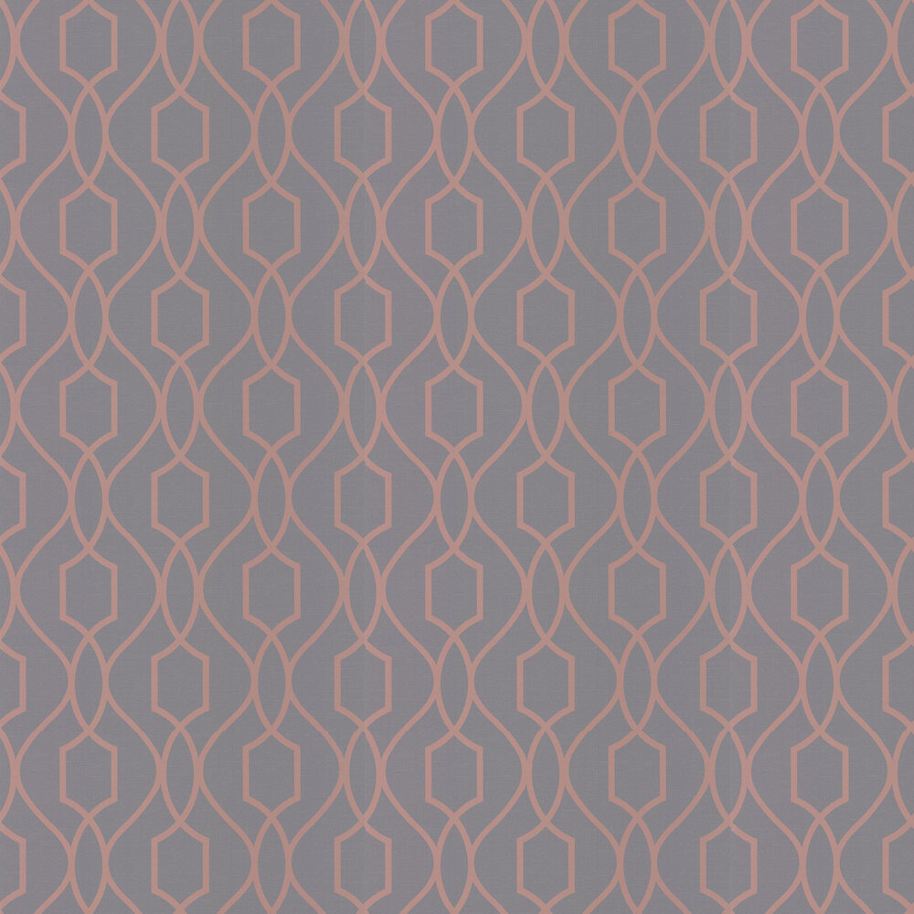 Apex Trellis Wallpaper - Charcoal and Copper - by Albany