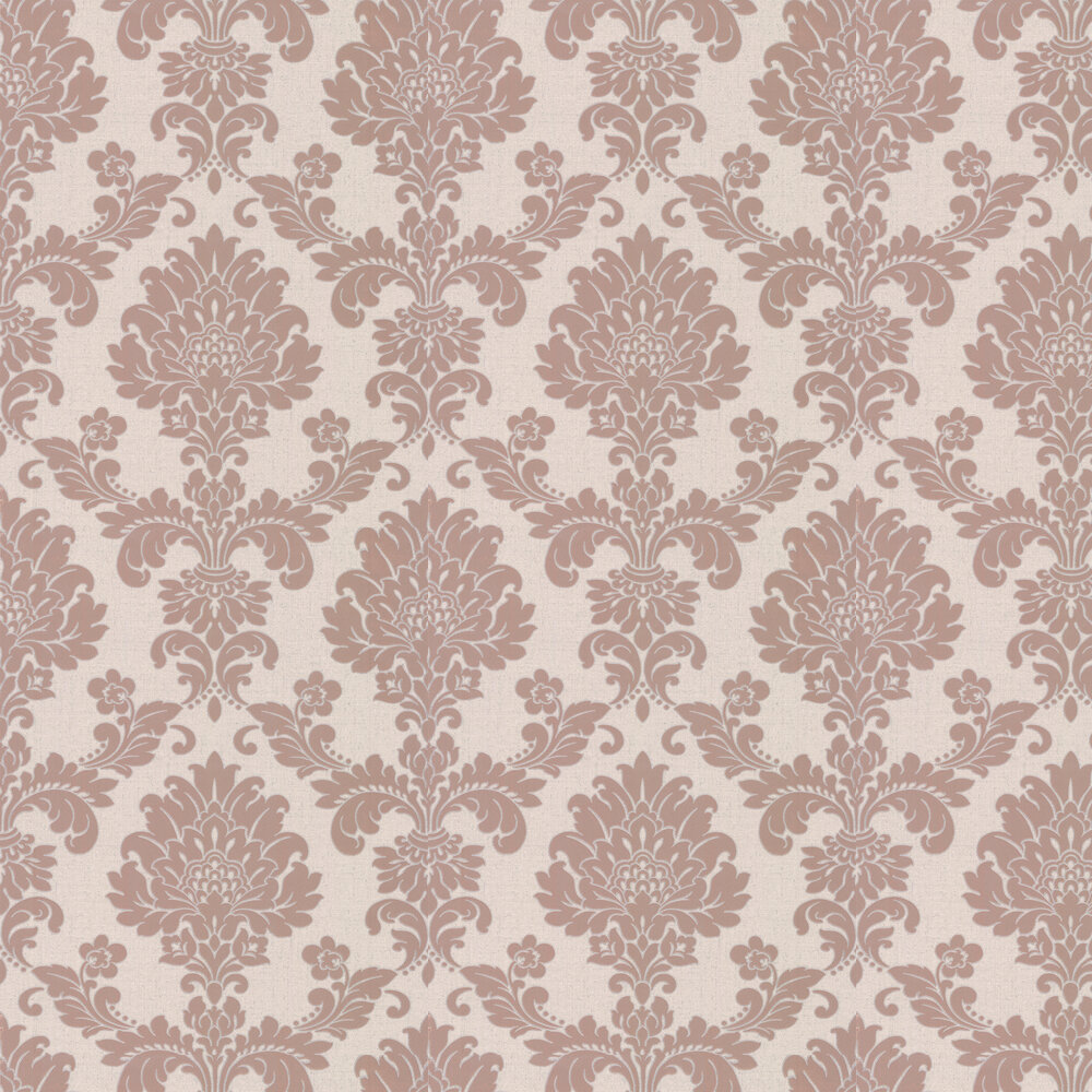 Quartz Damask Wallpaper - Rose Gold - by Albany