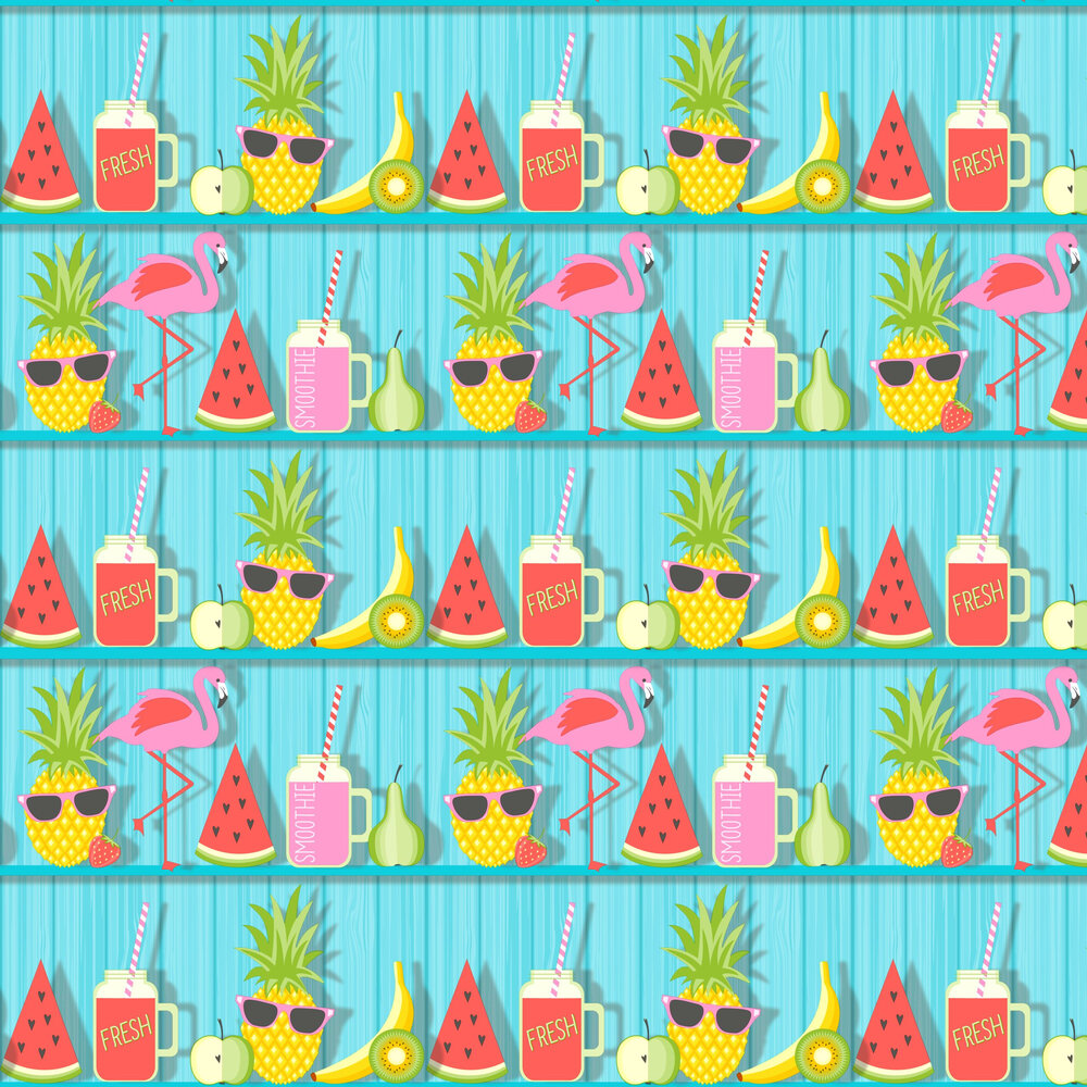 Kidz Tropical Shelves Wallpaper - Aqua - by Albany