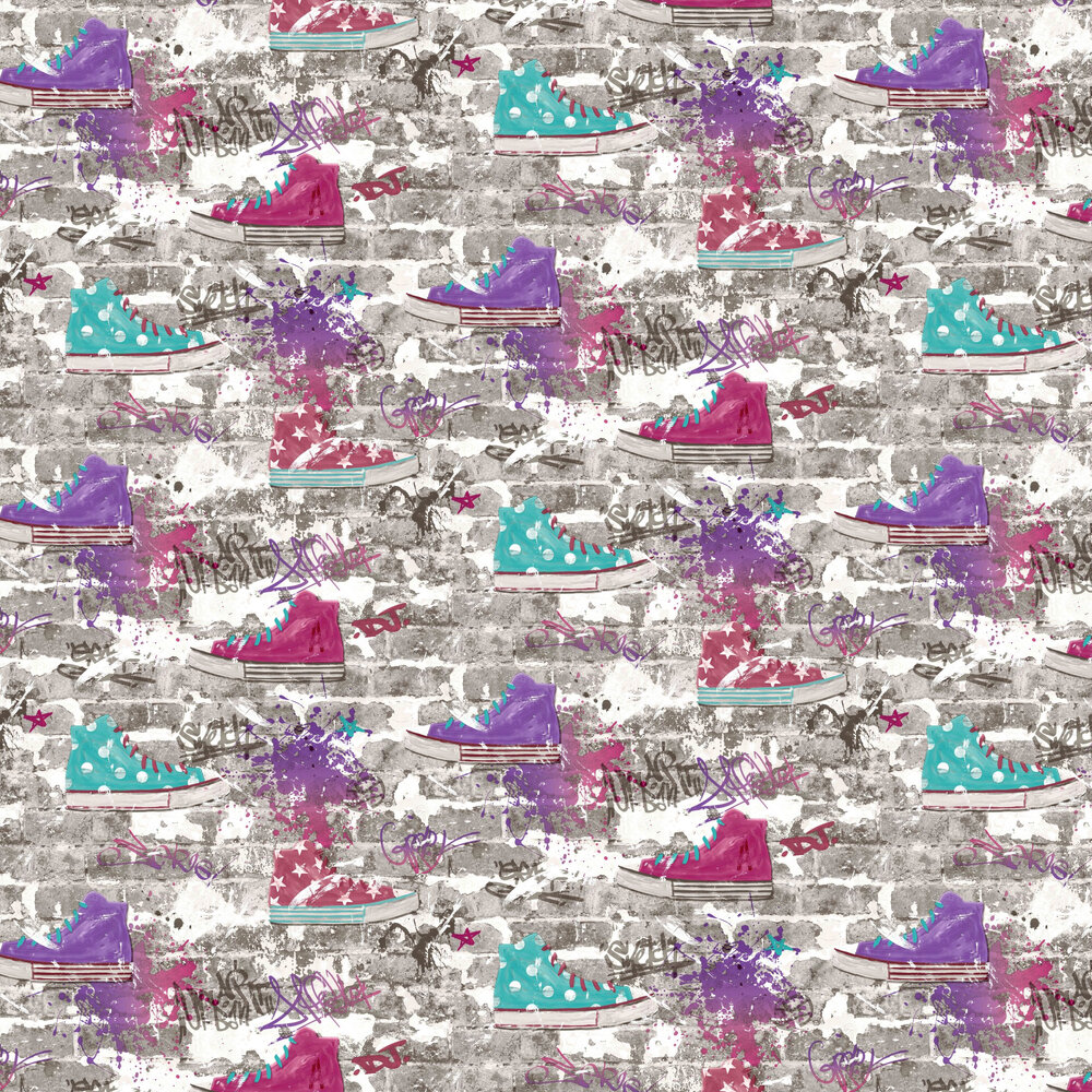 Kidz Urban Street Wallpaper - Purple - by Albany