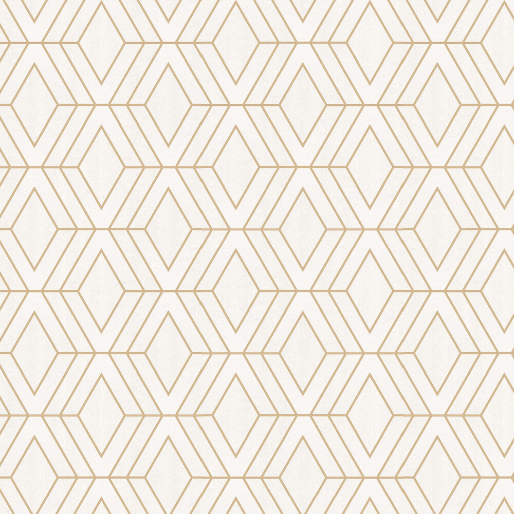 Pulse Diamond Wallpaper - White and Gold - by Albany