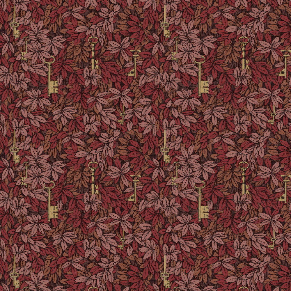 Chiavi Segrete Wallpaper - Red - by Cole & Son