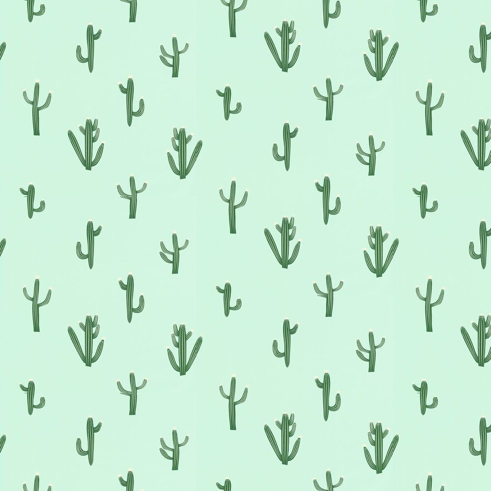 Caselio Free Hugs Cactus Duck Egg and Green Wallpaper - Product code: 69757001