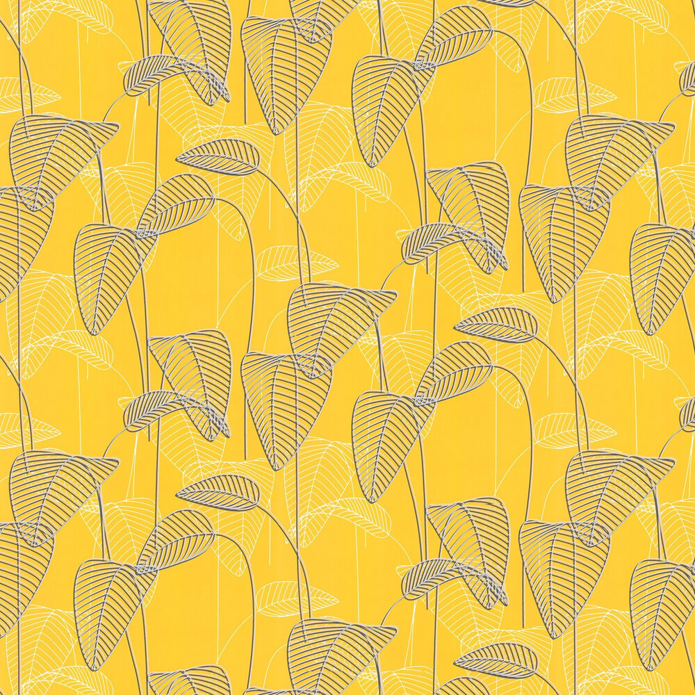 Galerie Leaf Outline Yellow and Grey Wallpaper - Product code: 219053