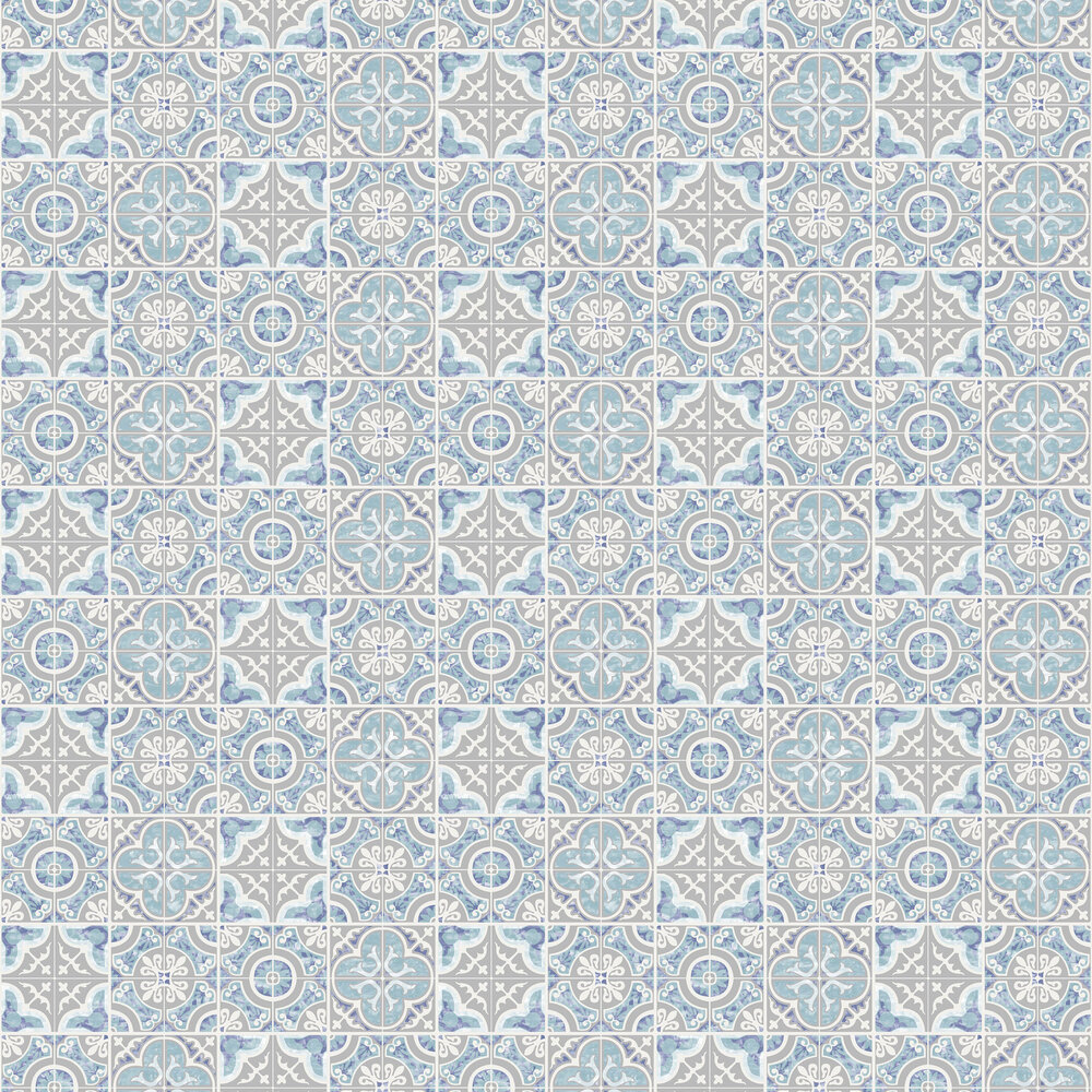 Mozaic Tiles Wallpaper - Blue - by SK Filson