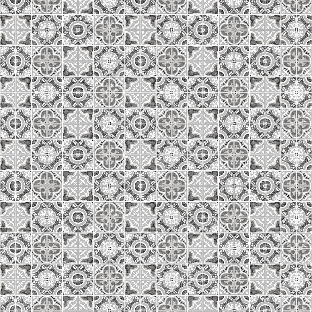 Mozaic Tiles Wallpaper - Silver - by SK Filson