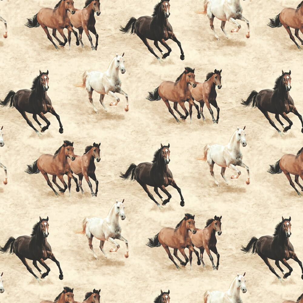 Galloping Horses Wallpaper - Stone - by SK Filson