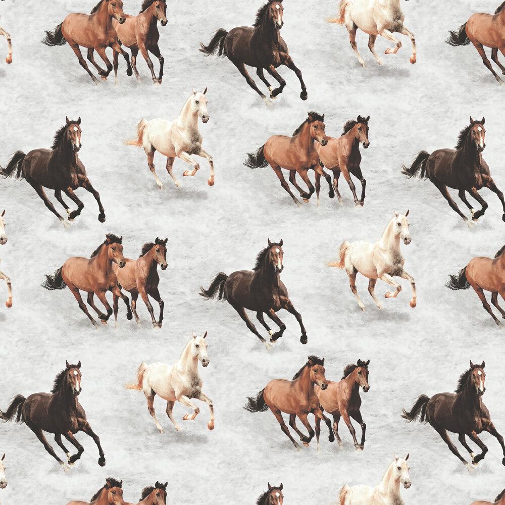 Galloping Horses Wallpaper - Grey - by SK Filson