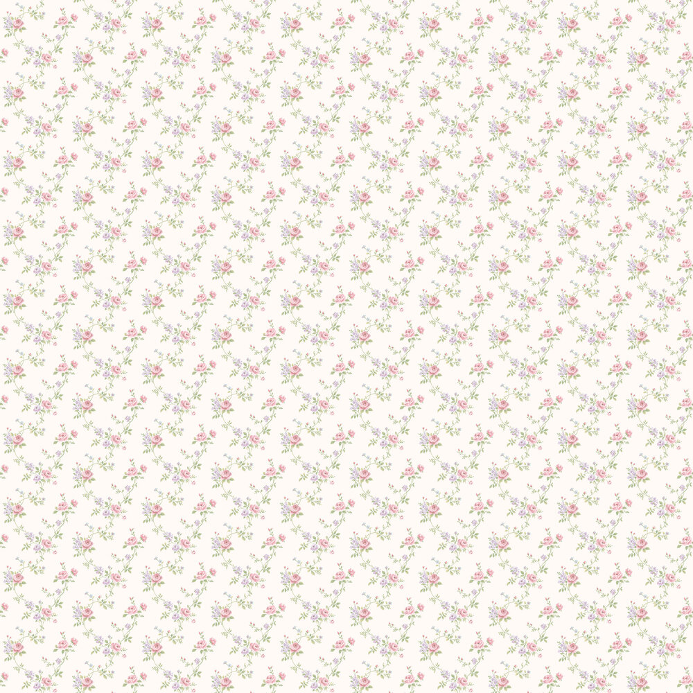 Rose Trail Wallpaper - Pink and Lilac - by Galerie