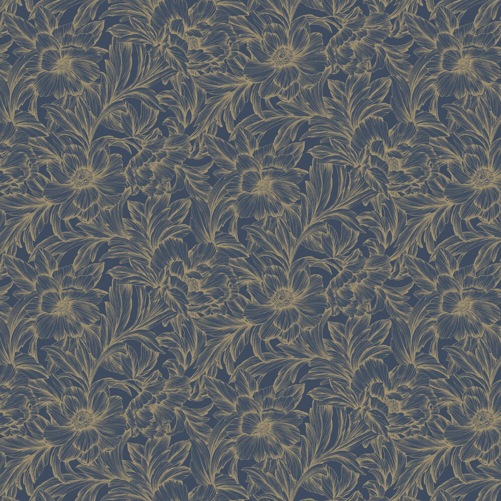 Casadeco Monceau Ink / Gold Wallpaper - Product code: 82356515