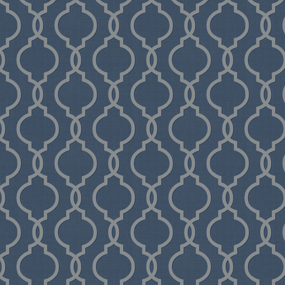 Laticia Wallpaper - Navy - by Albany