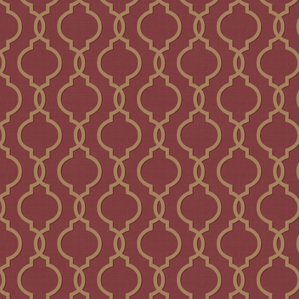 Laticia Wallpaper - Red / Gold - by Albany