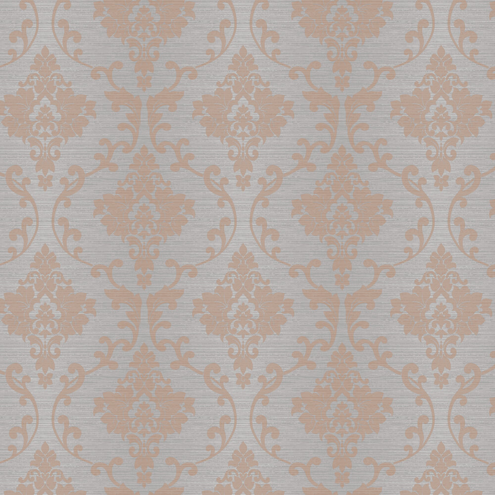 Kaluna Damask Wallpaper - Grey / Rose Gold - by Albany