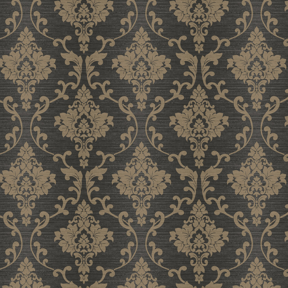 Albany Kaluna Damask Black / Gold Wallpaper - Product code: 65503