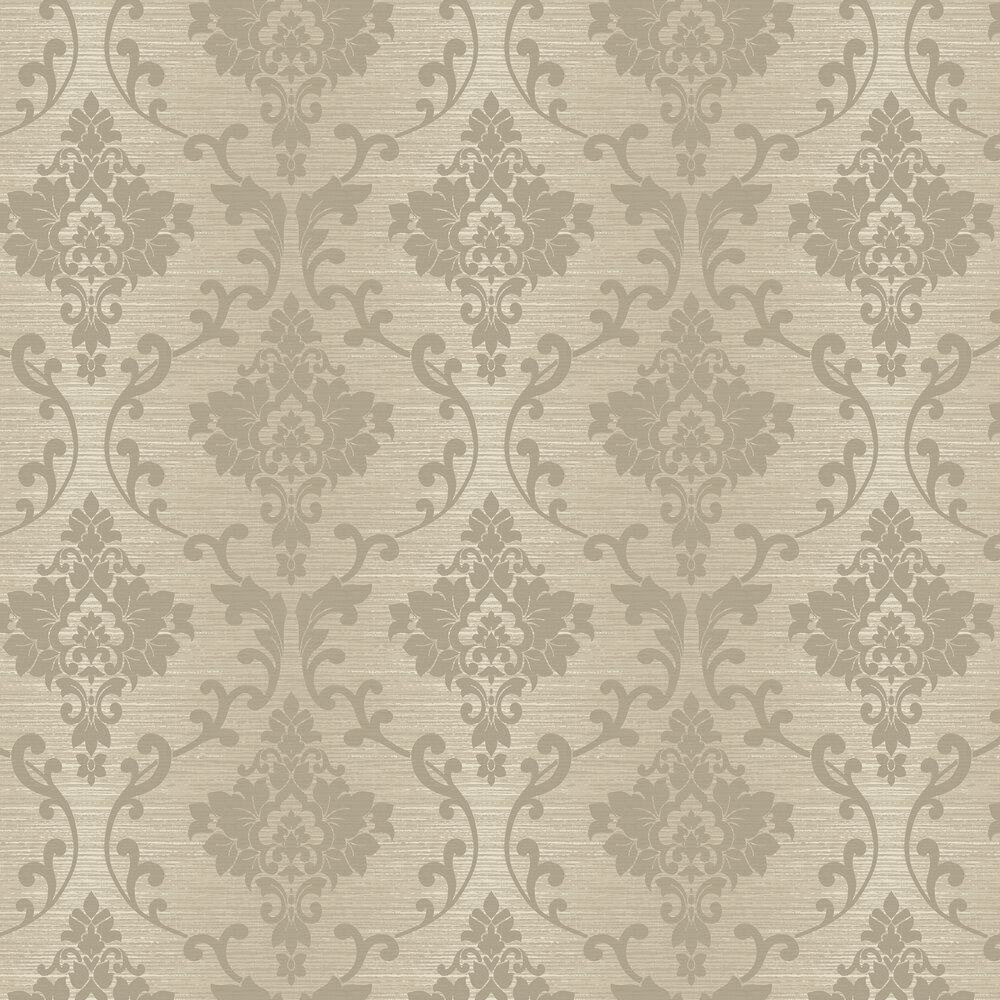 Kaluna Damask Wallpaper - Taupe - by Albany