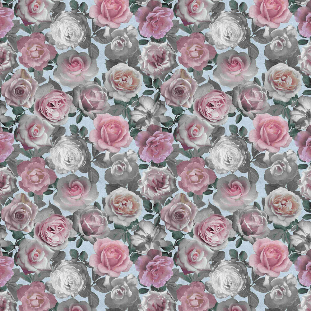 Roses Wallpaper - Pink / Blue - by Vilber