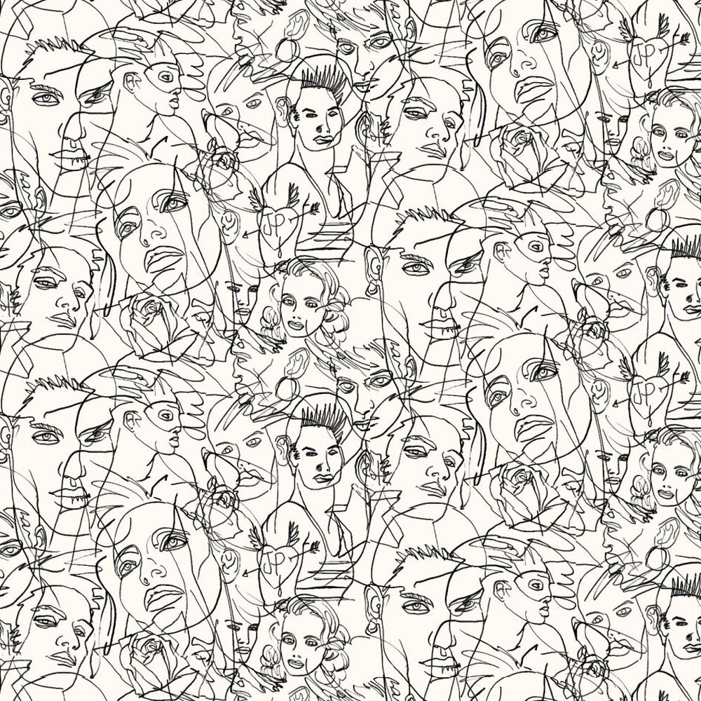 Jean Paul Gaultier Croquis Black / Ecru Wallpaper - Product code: 3322/01