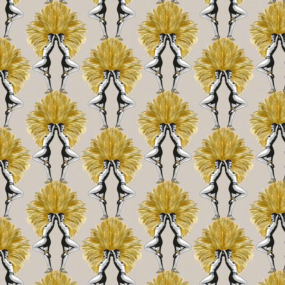Showgirls Wallpaper - Mustard / Taupe - by Graduate Collection