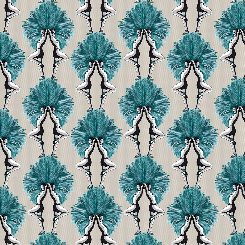 Showgirls Wallpaper - Teal / Taupe - by Graduate Collection