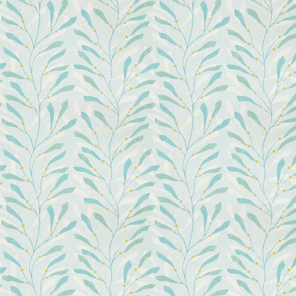Sea Kelp Wallpaper - Aqua / Lichen - by Sanderson