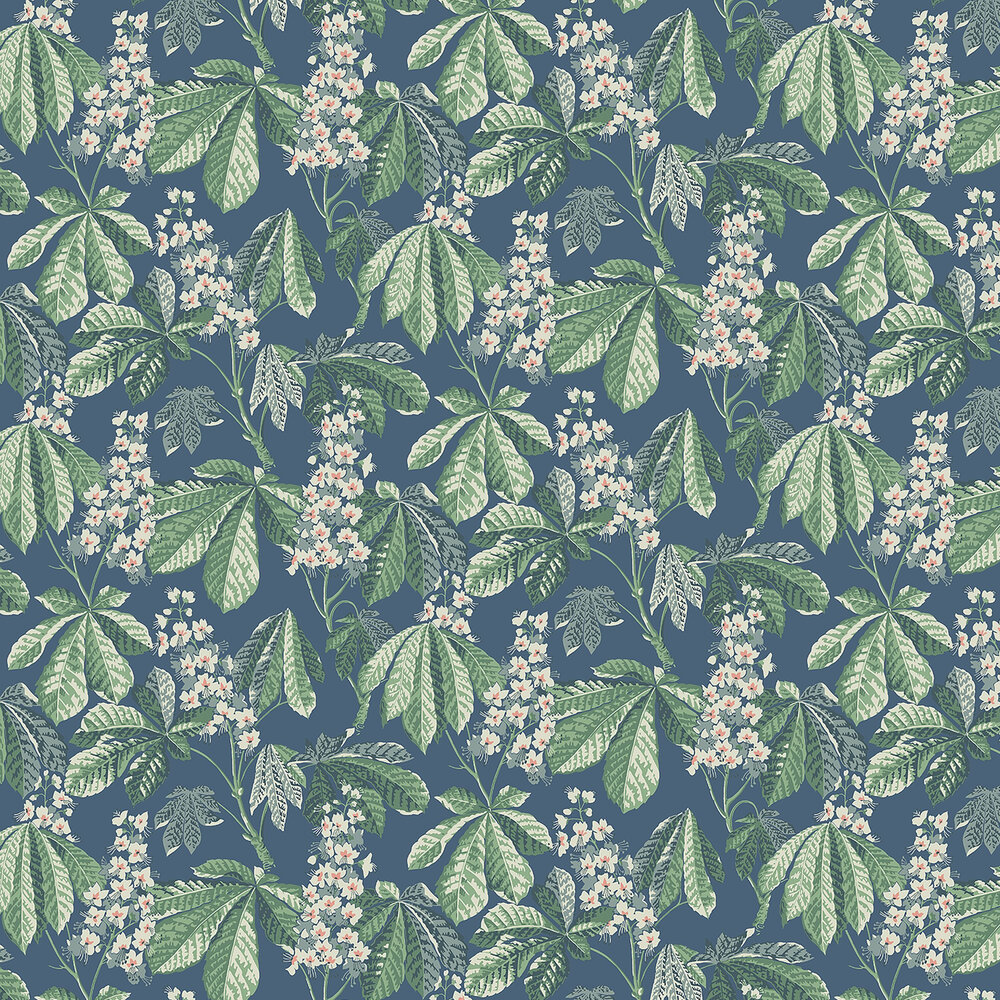 Chestnut Blossom Wallpaper - Blue - by Boråstapeter