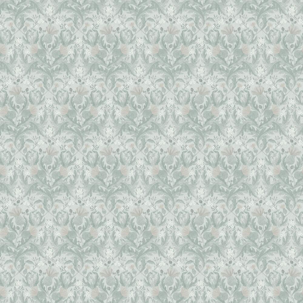 Thistle Wallpaper - Soft Green - by Boråstapeter