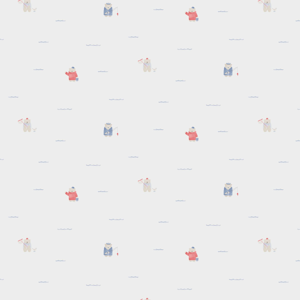 Casadeco Bears Beach Red and Blue Wallpaper - Product code: 29706502