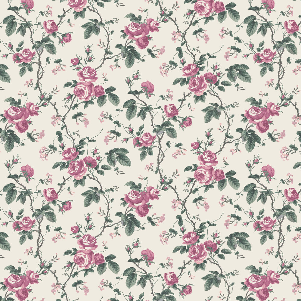 Boråstapeter French Roses Pink / Green Wallpaper - Product code: 7210