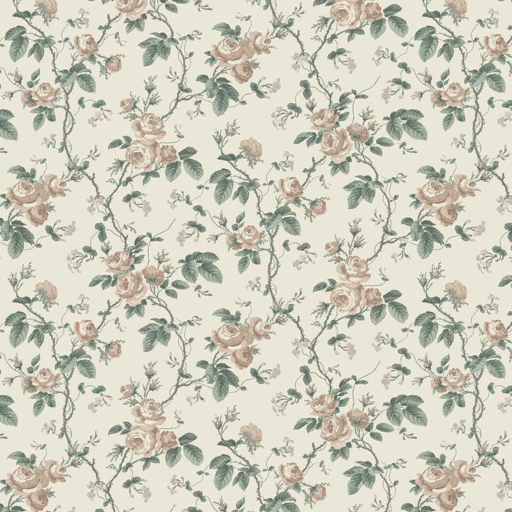 French Roses Wallpaper - Cream / Green - by Boråstapeter