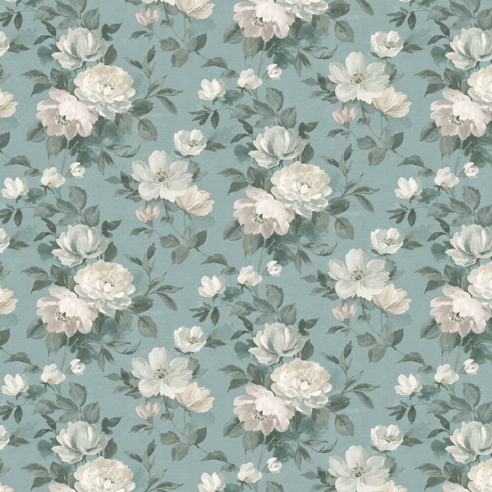 Peony Wallpaper - Blue - by Boråstapeter