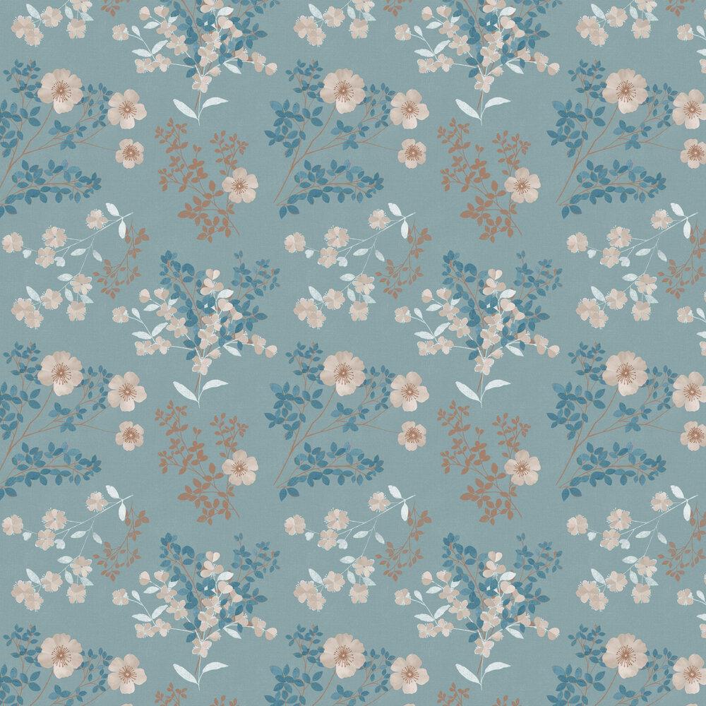 Boråstapeter Prairie Rose Blue Wallpaper - Product code: 7232