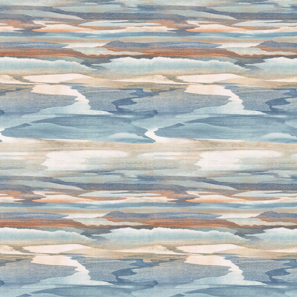 Cloudscape Wallpaper - Blue/ Copper - by Jane Churchill