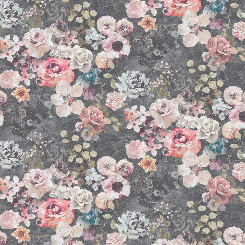 Jane Churchill Marble Rose Charcoal Wallpaper - Product code: J8004-01